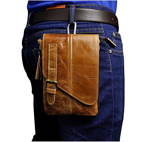 Männer Leder Hüfttasche Reiten Sport Kleine Bein Tasche Taille Packen Messenger Schulter Beutel Licht Braun