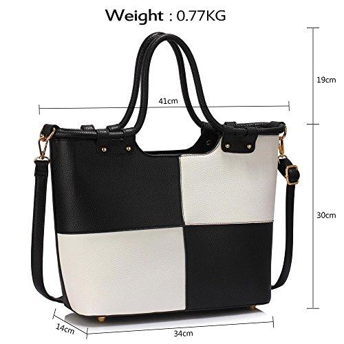 LeahWard® Damen Designer Tragetaschen Damen Celeb Style nett Schulter Handtaschen 111 Schwarz/Weiß