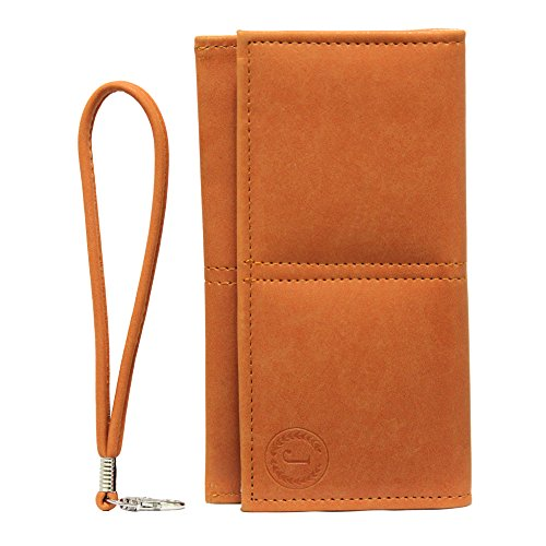 Jo Jo A5 Nillofer Leather Wallet Universal Pouch Cover Case For HTC Desire 516c Orange