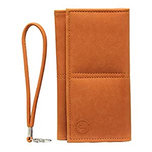Jo Jo A5 Nillofer Leather Wallet Universal Pouch Cover Case For HTC One SC Orange