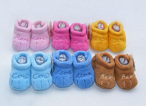 Bigood Chaussure Enfant Bébé Corail Brodé Chaussures Souples Cadeau Nouveau-né Bleu Léger
