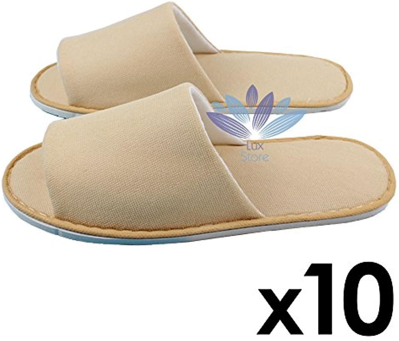 Neoplane Cloth Slipper SPA Salon Hotel Uso Unisex Desechable Toes Abiertos Zapatillas 10 Pares - Caqui