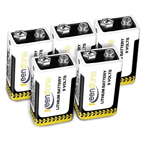 Keenstone N°5 Batterie al Litio 9V 1200mAh, Batterie in Metallo(U9VL-JP10CP), Bassa Auto-Scarica, Alta Densità di Energia con PTC Protetto, per Giocattoli di Controllo Remoto, Rilevatori di Fumo, Microfoni Senza Fili, Multimetri