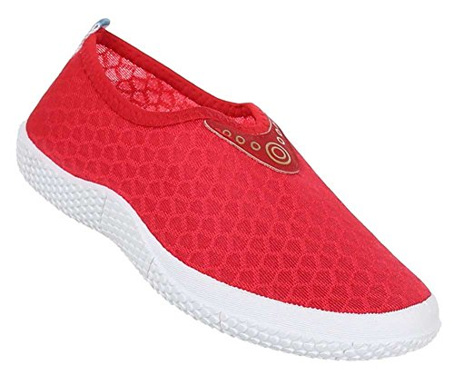 Damen Schuhe Slipper Halbschuhe Freizeitschuhe Schlupfschuhe Sneaker Rot