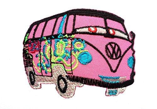 Parches - VW autobús Hippie - rosa - 5,8x7,4cm - termoadhesivos bordados aplique para ropa