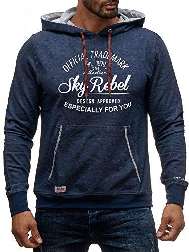 Herren Kapuzenpullover Hoodie Rebel H1366 blau meliert Blau