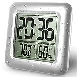 GuDoQi Wasserdichte Badezimmeruhr LCD Digital Wandspiegel Saugnapf Küchentemperatur Feuchtesensor Zeituhr Duschuhr