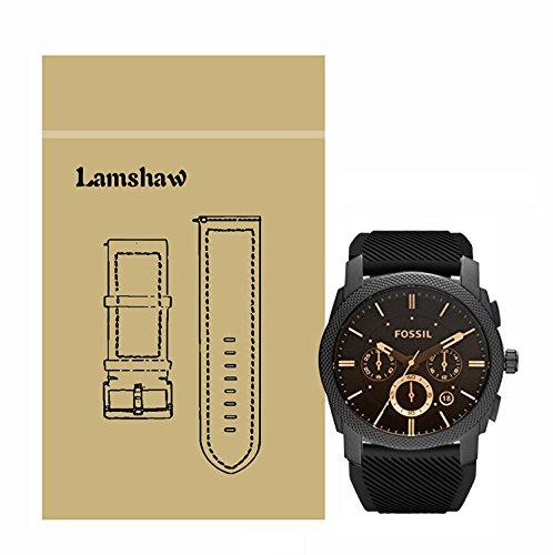 Ceston Classic Ersatz Uhrenarmband für Fossil Herren-Uhren FS4656 (Silikon-Schwarz)