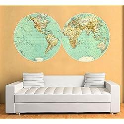 Vinilo Mapa Mundo de Pared Retro Vintage Decorativo - 150 x 76 cm