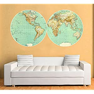 Vinilo Mapa Mundo de Pared Retro Vintage Decorativo – 150 x 76 cm