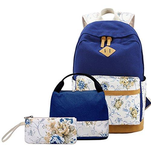 Rucksack set Mädchen Teenager Schulrucksack Canvas Laptop Backpack+Lunch Tasche+Mäppchen (Tasche Canvas Camping)