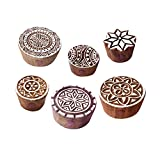 Royal Kraft Stoff Druck Blöck Indisch Geometrisch Runden Muster Holz Stempel (Set von 6)