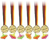 KSS 6 X Leuchtkreisel mit Licht und 6 X Medaillen für Kindergeburtstag als Mitgebsel , Mitbringsel , Party , Tombola , Verlosung