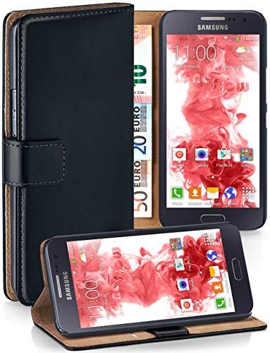 MoEx® Booklet mit Flip Funktion [360 Grad Voll-Schutz] für Samsung Galaxy A5 (2015) | Geldfach und Kartenfach + Stand-Funktion und Magnet-Verschluss, Schwarz