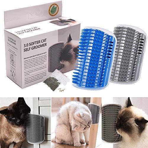 Hooggle 2 Stück Haustier-Bürsten-Kamm für Katzen Eck-Massage-Kamm für Katzen und Katzen (Blau und Grau) -