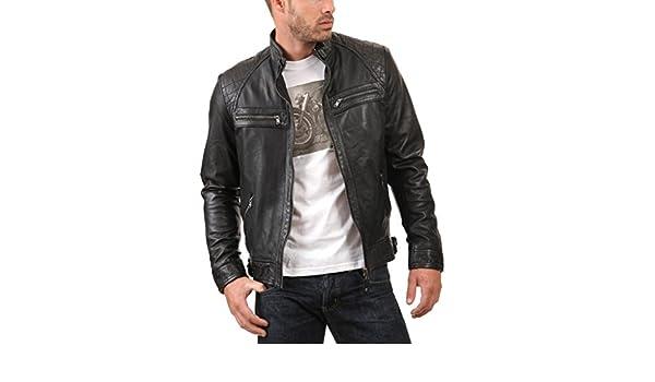 Leather4u KL738 Veste en cuir homme, peau d'agneau Cuir