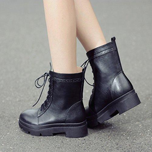 &ZHOU Bottes d'automne et d'hiver courtes bottes femmes adultes Martin bottes bottes Chevalier Black