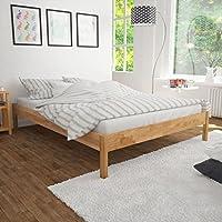 vidaXL Estructura de cama 140x200 cm roble macizo natural - Muebles de Dormitorio precios