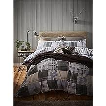 Navidad Patch Check animales gris blanco cepillado algodón Single (Fitted Sheet–90cm x 190cm + 30cm) 3piezas Juego de ropa de cama