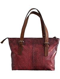 Craftvilla Bolso de piel estilo vintage, piel de vacuno, 38 cm, color rosa