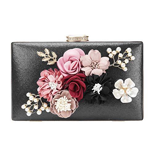 chuangminghangqi Damen Clutch Abendtasche Hochzeit - Handtasche mit Blumen Hochzeit Braut Geldbörse 20 * 12 * 3 cm (20 * 12 * 3 cm, Schwarz) -
