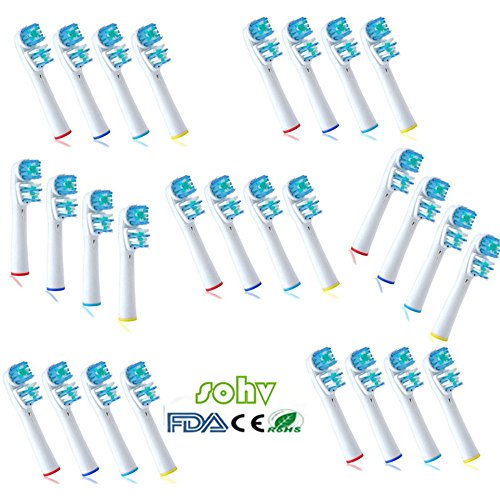 28 uds. (7x4) Sohv® cabezas de cepillo de dientes de recambio Compatible con Oral B Dual Clean (EB417-4/SB-417A),Totalmente compatibles con los siguientes modelos de cepillos de dientes eléctricos Oral-B: Vitality Precision Clean, Vitality Floss Action, Vitality Sensitive, Vitality Pro White, Vitality Dual Clean, Vitality White and Clean, Professional Care, Triumph, Advance Power, TriZone y Smart