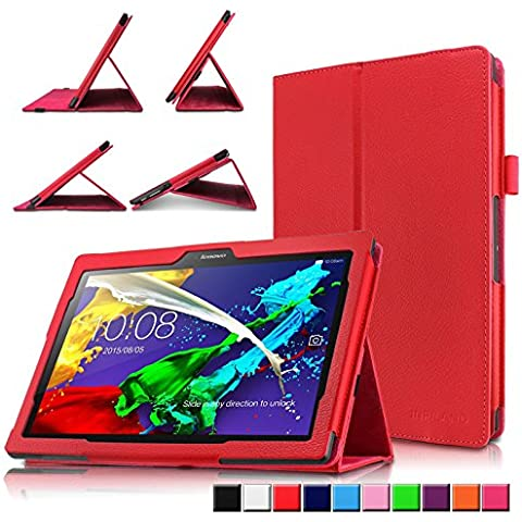 Infiland Lenovo TAB 2 A10-30F Funda Case-Folio PU Cuero Cascara Delgada con Soporte para Lenovo TAB 2 A10-30F 25,6 cm (10,1 pulgadas HD IPS) Media Tablet(con Auto Reposo / Activación