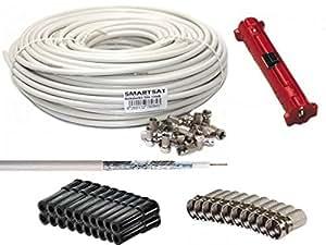 Smartsat SAT-Anschluss-Kit, 50m SAT-Kabel, 25x F-Stecker mit Gummidichtring, 20x Gummitüllen, 25x F-Stecker, 1x Abisolierer HDTV und 3D tauglich, Koaxkabel für Satellitenanschluss, Schirmungsmaß 120dB
