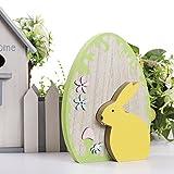 Valery Madelyn Holz Deko Hase Eiertyp Dekofiguren 25,5 cm Frühling Dekofiguren mit Abnehmbares Gelbes Kaninchen Holzfigur für Osterzeit Haus Tisch Fenster Garten Dekoration Perfekte Geschenkidee