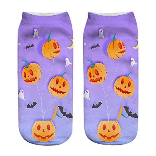 ZZBO Happy Halloween 3D Gedruckte Lange Socken Hohe Socks Kürbis Laterne Bat Hexe Dunkel Schloss Muster Kniehohe Strümpfe Festival Cosplay Party Halloween Kostüme Lässige Socken für Frauen - Kind Pac Mann Kostüm