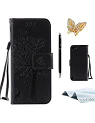 LG K5 Hülle,TOUCASA Lederhülle PU Leder Flip Tasche Case Katzen und Bäume Muster Handyhülle für LG K5 + 1 x Eingabestift & Glitzer Staub Stecker
