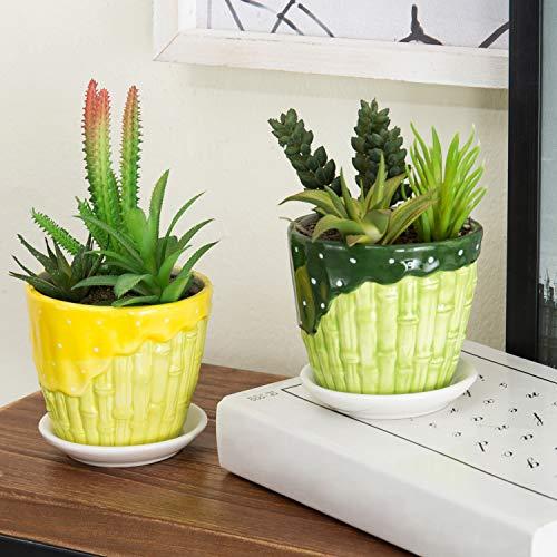 Set aus 2dekorativen Keramik Sukkulente Übertopf Töpfe, Garden Flower Behälter mit Untertasse, Grün & Gelb