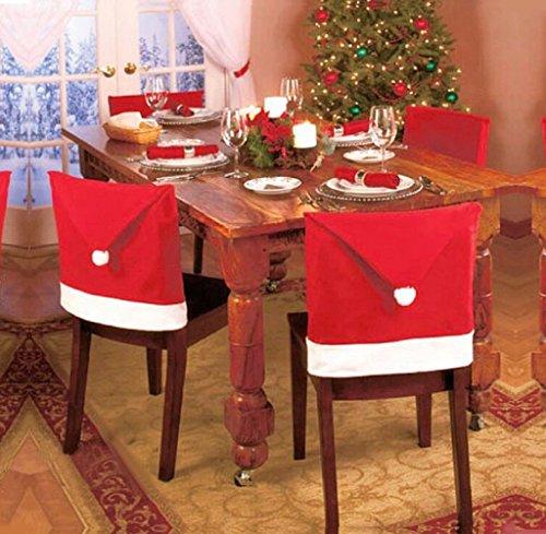 FEITONG 1pcs de Santa Red Hat Cubre Sillas de Navidad Decorar silla de comedor juegos de cubiertas de Navidad (rojo)