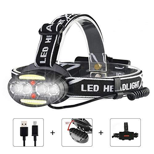 iToncs LED Stirnlampe USB Wiederaufladbar mit 7 Modus, Wasserdicht Leichtgewichts 90 ° Drehbare Kopflampe für Campen,Fischen,Joggen,Lesen (Inklusive 18650 Akku)