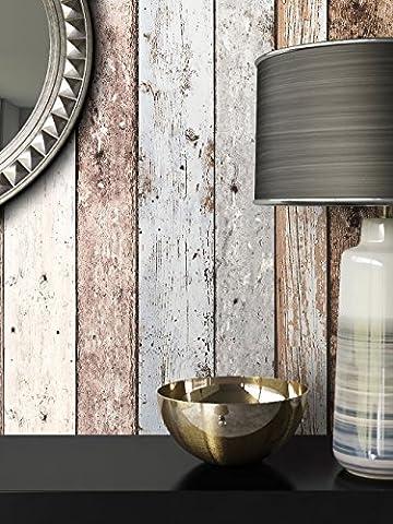 Holz Mustertapete Vliestapete Blau Beige Edel , schöne edle Tapete im Holzwand Design , moderne 3D Optik für Wohnzimmer, Schlafzimmer oder Küche inkl. Newroom Tapezier Ratgeber mit super Tipps!
