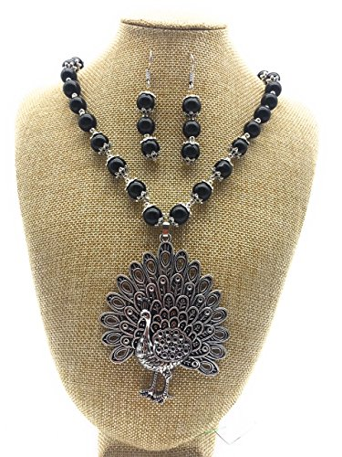 Satyam Kraft Traditional Kundan Black Pearl Necklace with Big Size Peacock Pendant Set jewellery For Women for wedding/diwali jewellery/traditional jewellery/jewellery for women/peral jewellery/kundan jewellery/ethnic necklace/party necklace