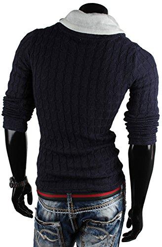 emimay Pull tricot large pour homme veste en tricot à capuche Bleu - Bleu foncé