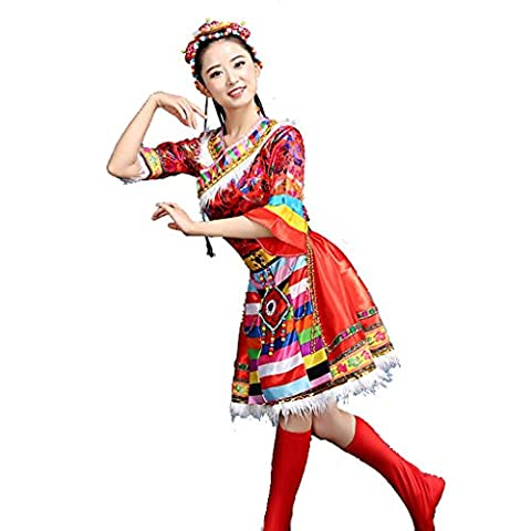 Byjia Frauen Tibetische Mongolische Tanz Lange Kleider Erwachsene Eröffnung Große Rock Druck Stickerei Moderne Chor Nation Klassische Bühne Aufführungen Kostüme Gruppen Team Outfit Red (Groß Nation-kostüm Für Erwachsene)
