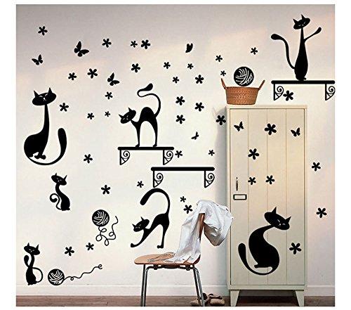 Stonges Katze Wandaufkleber Removable Vinyl Wandkunst Kinder Kinder Kindergarten DIY Dekoration
