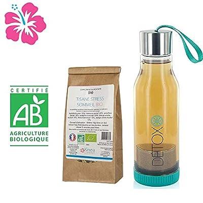 Tisane Stress Sommeil Bio à base de passiflore et de valériane + Bouteille infuseur detox - Fabriquée en France - Cure 15 jours - Des ingrédients 100% naturels pour lutter contre le stress et favoriser un sommeil sain