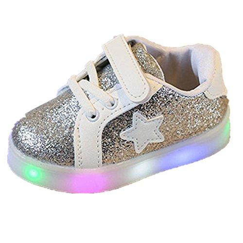 Elecenty regalo bambino scarpe led stella sportive bambini ragazzi ragazza scarpe con luce luminose sneakers (size:27, argento)
