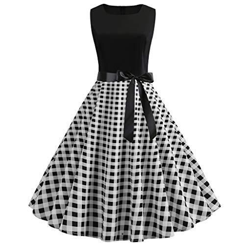 Produp Mode D'été Femmes Robes Vintage des Années 1950 Rétro sans Manches O Cou Floral Imprimer Bandage Soirée De Bal Swing Dress