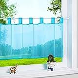 1er Pack Voile Blau Scheibengardine mit Schlaufen Küchen Vorhang, H/B: 45/120cm