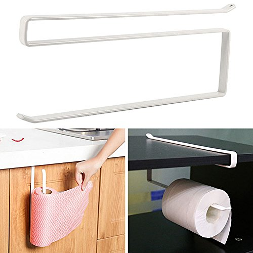 Armario de papel de cocina toalla de papel, para colgar Woopower bajo armario, color dispensador de toalla de rollo de papel de–Metal inoxidable en servilletas estante de almacenamiento Rack