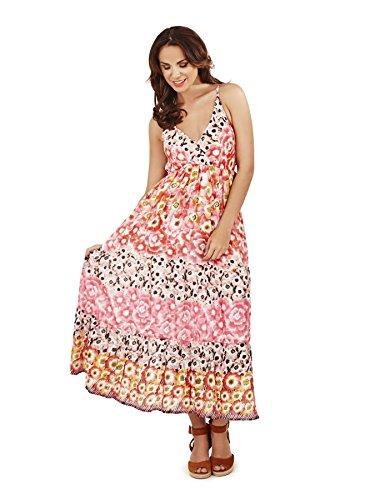 Pistachio, Damen Blumen Maxi-kleid Aus Baumwolle rosa orange - Mohnblumen