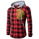 Langarm Kapuzenjacke Herren, DoraMe Männer Herbst Winter Plaid Kapuzen Shirt Wildleder Tasche Pullover Lässige Bluse (Rot, M)