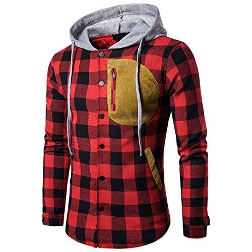 Langarm Kapuzenjacke Herren, DoraMe Männer Herbst Winter Plaid Kapuzen Shirt Wildleder Tasche Pullover Lässige Bluse (Rot, L) Herren Leder Rot Shirt