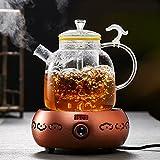 Teekessel Tee-Hersteller Verdickung Hitzebeständiger Glastee-Set Teekanne Elektrischer Töpfer-Topf-Wasserkocher,Topf + Bronze Elektrischer Töpfer-Ofen