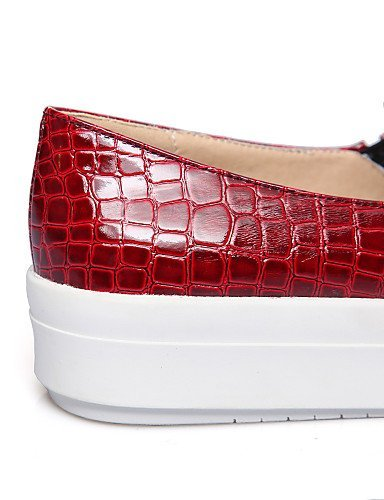 ShangYi gyht Scarpe Donna - Mocassini - Casual - Creepers - Plateau - Finta pelle - Nero / Rosso / Beige Red