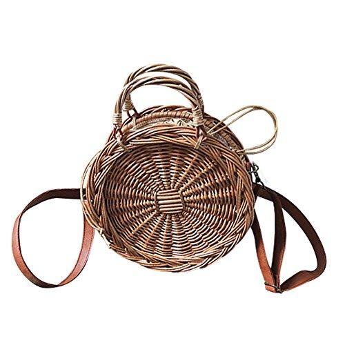 Rattan Tasche Vintage Handtasche Korbtaschen Damen Strandtasche Sommer Umhängetasche
